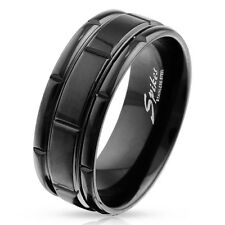 316L Stainless Steel Men's Black Grooved Center Band Ring Size 9-14