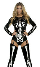 Snazzy Skeleton Sexy Costume by Forplay Bodysuit with Garters and Thigh-highs