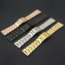 22mm Mens Metal Watch Strap Bracelet Stainless Steel Band Deployment Clasp Hot