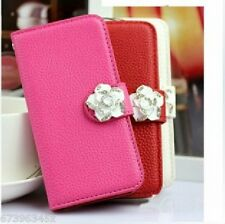 Rhinestone Camellia Leather Card Holder Wallet Case Cover FOR LG MOBILE PHONES