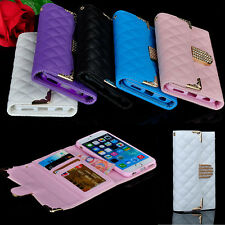 Bling Crystal Rhinestone Diamond Flip Wallet Leather Case Cover For iPhone 6