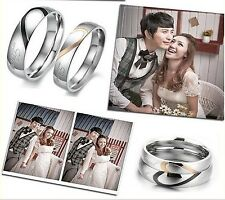 Lovers Rings Couple Heart Shape Matching Stainless Steel Promise Wedding Ring