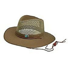 BOY SCOUT JAMBOREE MESH SAFARI HAT + LOGO PIN LEATHER CHIN STRAP SIZE LARGE XL