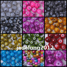 Wholesale 100pcs Mixed Mottle Glass Marble Effect Round Loose Spacer Beads 6mm