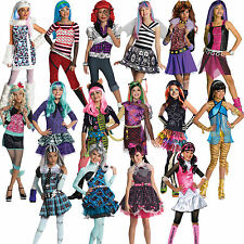 Official Child Girls Monster High Kids New Fancy Dress Halloween Costume & Wig