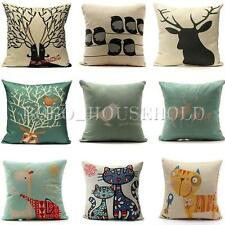 Vintage Retro Elk Animal Cotton Linen Cushion Cover Pillow Case Home Decoration