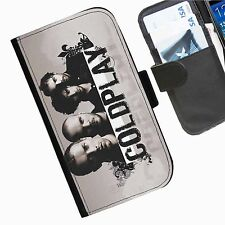 Coldplay Leather wallet personalised phone case for HTC1