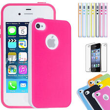 DUAL COLOR RUBBER SOFT SILICONE GEL BUMPER TPU CASE COVER FOR IPHONE 4 4S