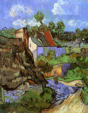 Fine Art Print on Canvas Houses at Auvers Vincent van Gogh Painting Reproduction