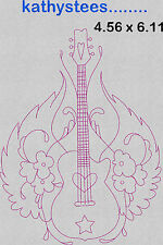 Girly Guitars - Machine Embroidery Designs Set of 10 On CD - 5x7 Hoop