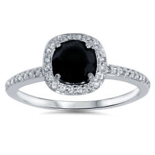 1.25 Carat Black Spinel & Cushion Halo Genuine Diamond Ring 14K White Gold