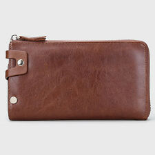 Men's Genuine Cow Leather Clutch Handbag Wallet ID credit Card holder Purse Bag