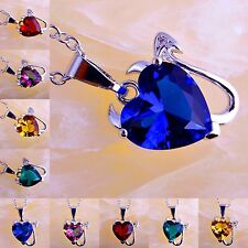 Rainbow Topaz & Morganite Ruby Spinel & Sapphire Quartz Gemstone Silver Necklace