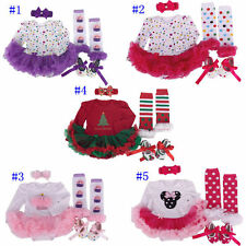 4pcs Toddle Baby Infant Clothes Dress Girl Xmas Outfits Tutus Newborn Romper New