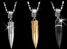 Gun BULLET Cz Stainless Steel Silver Gold Black Mens Ladies Pendant Necklace NEW