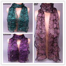 Lot  Wholesale Fasahion Womens Lace Long Soft Scarf Wrap Shawl Stole In 3 Color