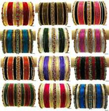 Set of 36 Indian Ethnic Belly Dance Sari Bangles Glitter filled Bracelet