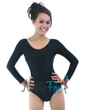 Retro Shiny Spandex Black Long Sleeve Scoop Neck Dance Leotard Bodysuit S-3XL