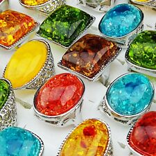 New Charms 5-20pcs Mix large Fashion Amber Silver Rings  Wholesale Jewelry Lots