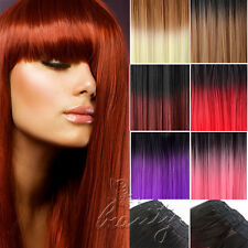"""Two Tone Style 24"""" Straight Dip Dye Color Party Ombre Hair Clip In Extension"""