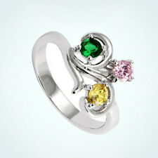 Sterling Silver Mothers Birthstone Ring Personalized 3 Stone Moms Family Jewelry