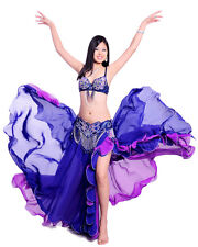 New Belly Dance Costume 3 Pics Bra&Belt&Skirt 34B/C-40B/C 7 Colors Hot Sale