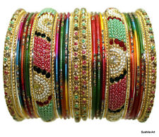 Set of 26 Indian Ethnic Bangles Belly Dance Beads Stones Studded Bracelets Multi