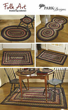 Folk Art Braided Rugs by Park Designs, Cream, Gold, Red & Blue, Pick of 5 Sizes
