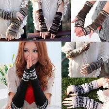 Fashion Arm Hand Warmer Mitten Long Cutton Fingerless Snowflake Winter Gloves