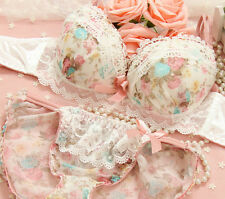 B/C Cup Cute Grils luxury bra set Hot sexy Flower Pull Up underwear intimate Set