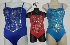 NWT 3 colors Dance Costume leotard sequin front camisole leotard girls ballet