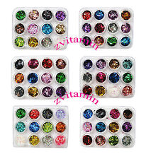 12 Nail Art Glitter Shapes Confetti Sequins Heart Square Acrylic Tips UV Gel