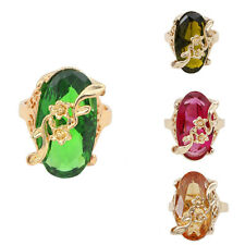 Women 14K Gold Filled Size 9 Austrian Crystal Ellipse Ring Jewelry In 4 Color