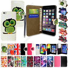 Flip Wallet Pouch Stand PU Leather Case Cover For Various Mobile Phones + Stylus