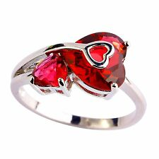Love Style Heart Cut Ruby Spinel Gemstone Silver Ring Size 7 8 9 10 11 Free Ship