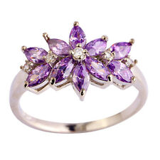 Noble Marquise Cut Amethyst & White Topaz Gemstone Silver Ring Size 6 7 8 9 10