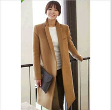 Womens Slim Double-Breasted Coat Polo Collar Wool Blend Fashion New Jacket L45