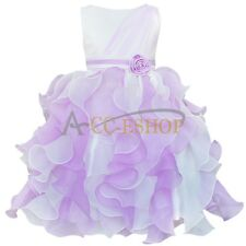 Children Girl Bow Formal Layered Wedding Gown Bridesmaid Pageant Dress Up 2-10Y
