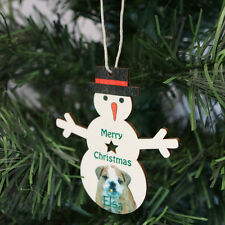 CHRISTMAS SNOWMAN DECORATIONS HANGING WOODEN  PERSONALISED CUSTOMISED GIFTS