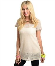 NEW BEIGE SHEER LACE SHORT SLEEVE TUNIC TOP pick S M L