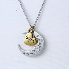 "Gold/Silver Plated Personal ""I LOVE YOU TO THE MOON AND BACK "" Necklace Pendant"