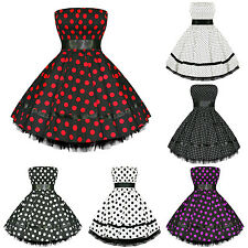 Hearts And Roses London New Polka Dot Vintage 50s Retro Swing Party Prom Dress