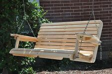 4' Cypress Porch Swing Wood Wooden Outdoor Furniture Swings
