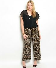 WOMENS PALAZZO JUMPSUIT ROMPER NEW 1X 2X 3X  Black Leopard Laced top & Wide legs