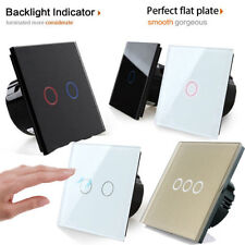 1/2/3 Gang 1/2 Way Touch Switch Control Light Crystal Glass Panel Golden
