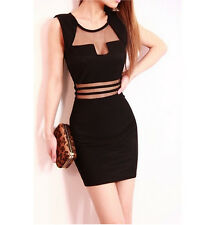 Fashion Women Sexy Slim Mini Clubwear Bodycon Evening Party Cocktail Dress Black