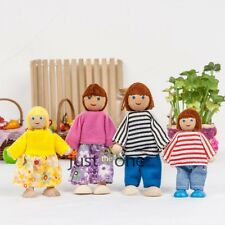 New for Kids Children Wooden Furniture Dolls 4/6 Family Members Parents Toys Set
