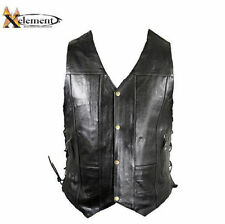 Xelement Mens 10 pocket premium Black Cruiser Leather Motorcycle Vest (S-3XL)