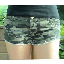 Women/Lady Camouflage Frayed Hot Pants Shorts Denim Jean Low Rise Sexy Green New