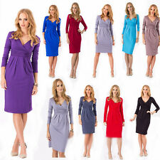 New Women's Candy Color Pleated Dress Sexy V-Neck Stretchy Maternity Tunic Dress
